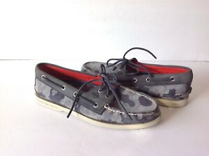Sperry Top Sider  Authentic Original 2-Eye Gray Camo  STS12573 Mens Size 7.5 M