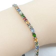 World Class 10.00ctw Multi-Color Sapphire 925 Sterling Silver Bracelet 9.4g
