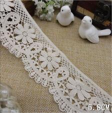 """3 Yard Pretty Scallop Edge Floral Cotton Trim  Off White  2 1/2"""" Wide"""
