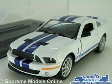 FORD MUSTANG GT500 SHELBY MODEL CAR 1:38 SIZE WHITE + DISPLAY CASE KINSMART 07 K