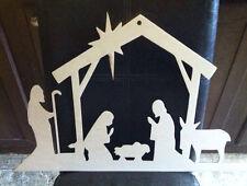 """24"""" Wooden nativity scene Unfinished wood Decor Custom 24in long Li"""
