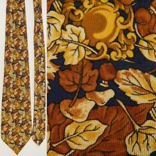 CELINE PARIS NAVY BLUE BROWN TAN AUTUMN FLORAL LEAVES ALL SILK NECKTIE NECK TIE