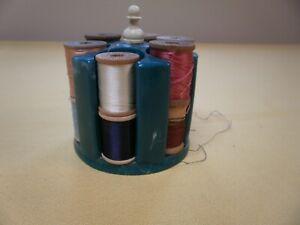 Vintage Green Marbled Plastic Spool Holder Sewing Thread Caddy w 12 silk thread