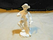 Figurine ~ Old Man Hobo /w Fish and Fruit ~ Unpainted Porcelain