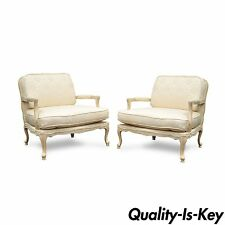 Pair of Italian Fratelli Morello French Louis XV Wide Bergere Fireside Chair vtg
