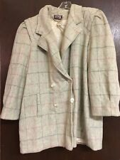 NYG New York Girl Lined Coat Women Winter Beige Striped Chest 27 Inches