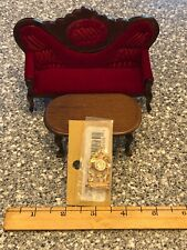 VINTAGE VICTORIAN DOLL HOUSE SOFA/TABLE/CLOCK PACKAGE