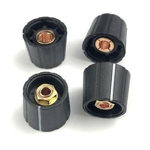 Sifam  Knob, Collet Type, 21mm  Diameter, Black, 6mm Shaft. Pack of 4.