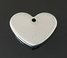10pcs 304 Stainless Steel Blank Stamping Tag Heart Shape Pendants Jewelry Making