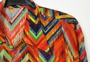 Vtg Mens 60s 70s Style Rainbow Disco Psychedelic Stag Festival Slim Fit Shirt S