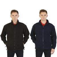 Mens Full Zip Up Fleece Jacket Work Casual Leisure Coat Sports Top Sizes S-2XL