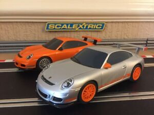 Scalextric Porsche 997 GT3 RS x2 VGC Fully Serviced & New Braids