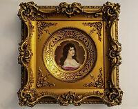 Antique Royal Vienna HP Wagner Portrait Amorosa Porcelain Plate Rare Gold Frame