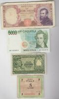 SEVEN BANKNOTES FROM ITALY IN A USED OR SLIGHTLY BETTER CONDITION.