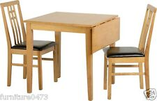 Oak Effect Dining Table & 2 Brown Seat Chairs W75cm X D75cm X H76cm Valentino