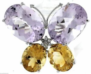 Vintage 14K White Gold Butterfly 28.85ctw Amethyst Citrine Diamond Pin Brooch
