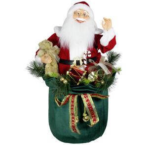 weihnachtliche Dekofigur Weihnachtsmann im Geschenkesack 60cm mit LED und Musik