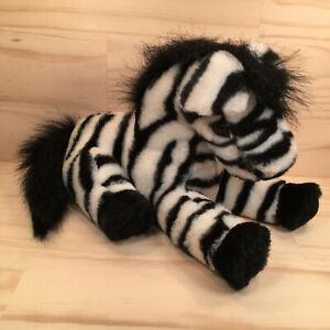 "ZIPPY THE ZEBRA ""Black"" Gorgeous Safari Animal Faux Fur Soft Toy Stuffed Friend"