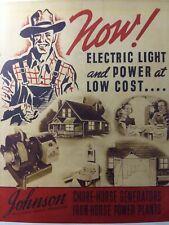 Johnson Iron Horse Engine Amp Chore Horse Generator Farm Color Sales Brochure 1938