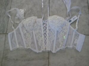 New Frederick's WHITE bustier w/ sheer panties & Sequin size 32 sexy FREE S&H