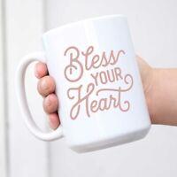 Bless Your Heart Mug Pink Flourish Texas Themed Mug Souvenir Texas Gift with Gif
