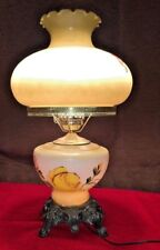 Vintage Hurricane Milk Glass Lamp Floral Brass Footed