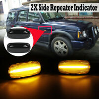 Pair Smoked LED Side Repeater Indicator Light For Land Rover Discovery Defender