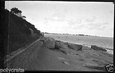 Paysage bord de mer Bretagne -   Négatif photo ancien