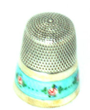 ANTIQUE  ENAMEL FLORAL~~STERLING THIMBLE~~LOVELY