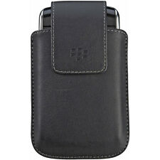 BLACK LEATHER SWIVEL HOLSTER POUCH FOR BLACKBERRY STORM