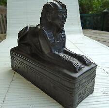 Egypte Sculpture Sphynx Pierre Socle Massif 16x14 x 6  Cm - 1,530 Kgs Artisanat