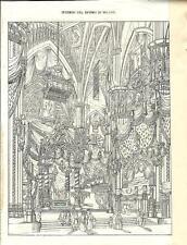 Stampa antica MILANO veduta dell'interno del DUOMO 1838 Old Print
