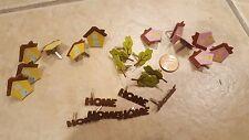 24 NEW Home Craft Scrapbooking Brads Pink Yellow House Tree Home Housewarming