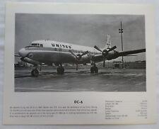 Vintage United Airlines DC-6 Airplane Specs Print c. 1960s