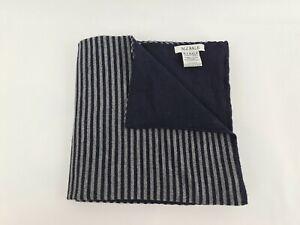 MJ BALE Merino Wool Scarf Grey & Navy Blue M. J. Bale