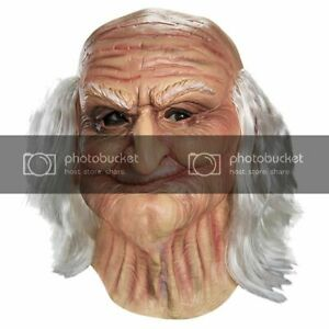 Adult Male Santa OLD MAN with WHITE HAIR Geezer Wrinkled Costume Mask