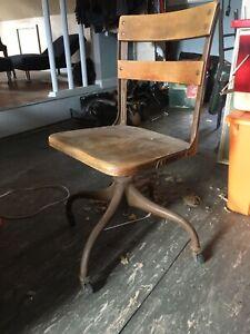 Machine age industrial metal rolling chair Iron Wood  vintage