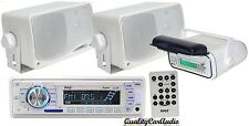 "NEW Pyle Marine AM/FM iPod AUX USB Receiver + Housing + 2 x 200W 3.5"" Speakers"