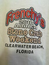 FRENCHY S Clearwater Beach FL L white graphic stone crab weekend 2012 t shirt