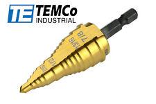 "Temco Electrician's Step Drill Bit M35 Cobalt 3/16"" - 15/16"" Conduit Knockout"