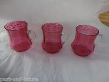 "BOHEMIAN GLASS MOSER SET OF 3 ENAMELED CRANBERRY PUNCH GLASSES CUPS  3 1/8"" TALL"
