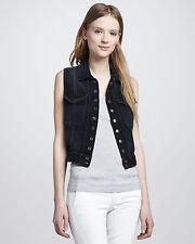 Current/Elliott Blue The Sleeveless Snap Jacket Washed Black Lace