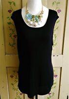Jones & Co Womens Size XL Basic Black Thin Knit Soft Sleeveless Shell Sweater