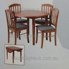 Timber Dining Set, Small 5 piece Dining Set. Antique Oak Colour, Dropside Table