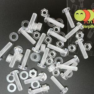 Acrylic Plastic Nuts & Bolts, Washers  M3, M4, M5, M6, M8 * 20mm - 30mm - Screws