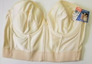 NWT Vintage CARNIVAL 44 D Cream Long Line Boned Bustier Bare-Back Low Plunge Bra