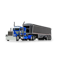 First Gear DCP 1:64 BLUE Peterbilt 389 Semi w/LODE KING HOPPER GRAIN TRAILER NIB