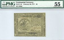 1777 $5 CONTINENTAL CURRENCY - BALTIMORE ISSUE - SUPER PMG ABOUT UNCIRCULATED 55