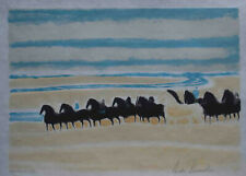 """French Artist Andre Brasilier, Signed Original Color Lithograph """"Horses"""""""