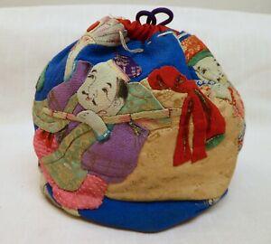 Vintage Japanese Textile Draw String Rice Bag, Komebukuro